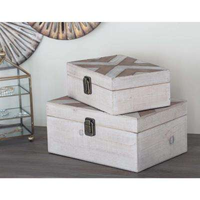 Wooden White and Brass Herringbone Boxes (Set of 2)
