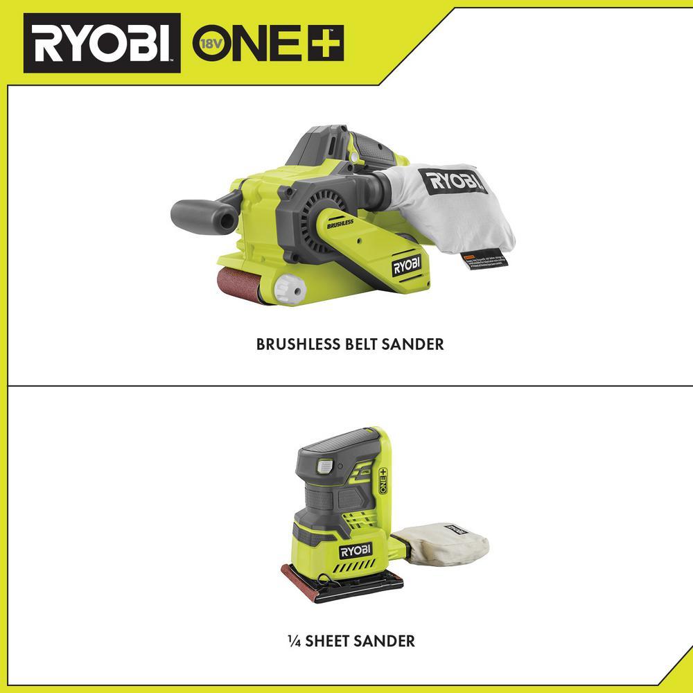 18-Volt ONE+ Cordless Brushless Belt Sander w/ Dust Bag and Sanding Belt and 1/4 Sheet Sander with Dust Bag (Tools Only)