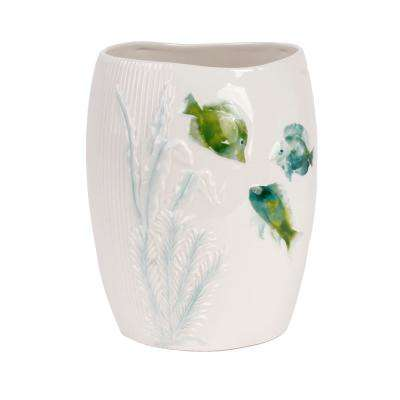Atlantis Freestanding Wastebasket in Aqua