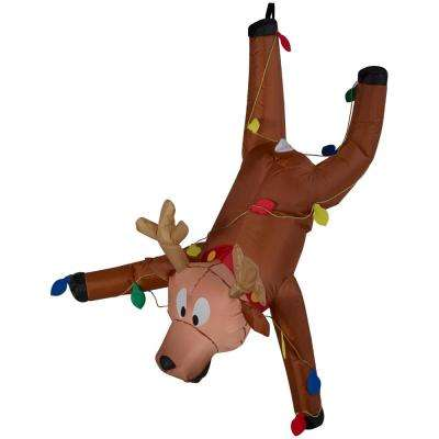 4 ft. Airblown Inflatable Reindeer Hanging from Gutter