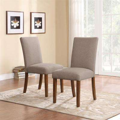 Taupe / Dark Pine Linen Parsons Chairs (Set of 2)