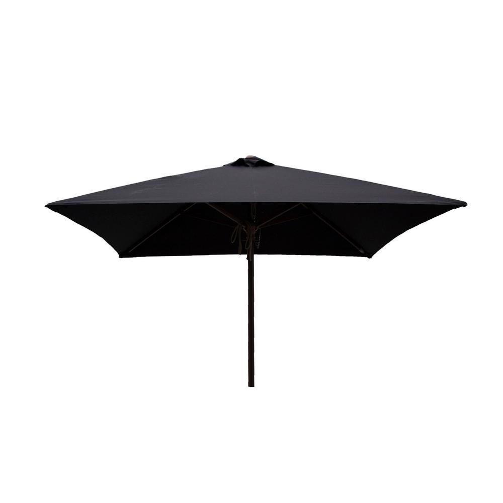 8bba34e164 DestinationGear Classic Wood 6.5 ft. Square Patio Umbrella in Black  Polyester
