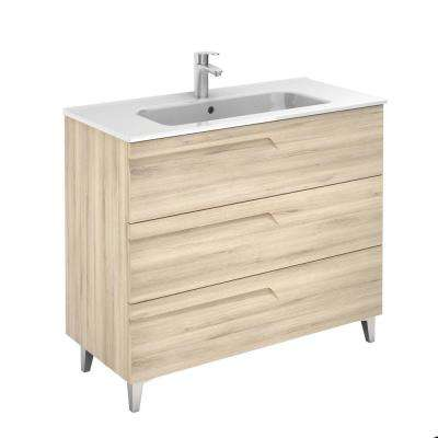 Vitale 40 in. W x 18 in. D 3-Drawers Vanity in Beige Nature with White Basin