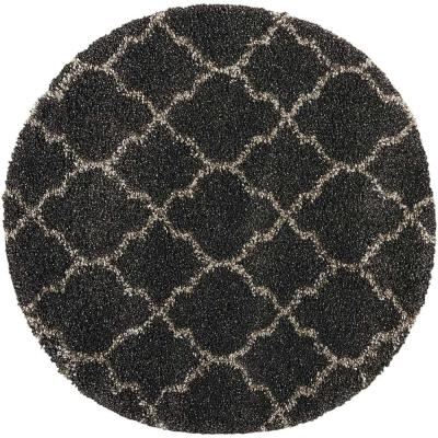 Amore Charcoal 4 ft. x 4 ft. Shag Contemporary Round Area Rug