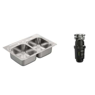 2200 Series Drop-in Stainless Steel 33 in. 4-Hole Double Basin Kitchen Sink with GX Pro Series 1/2 HP Garbage Disposal