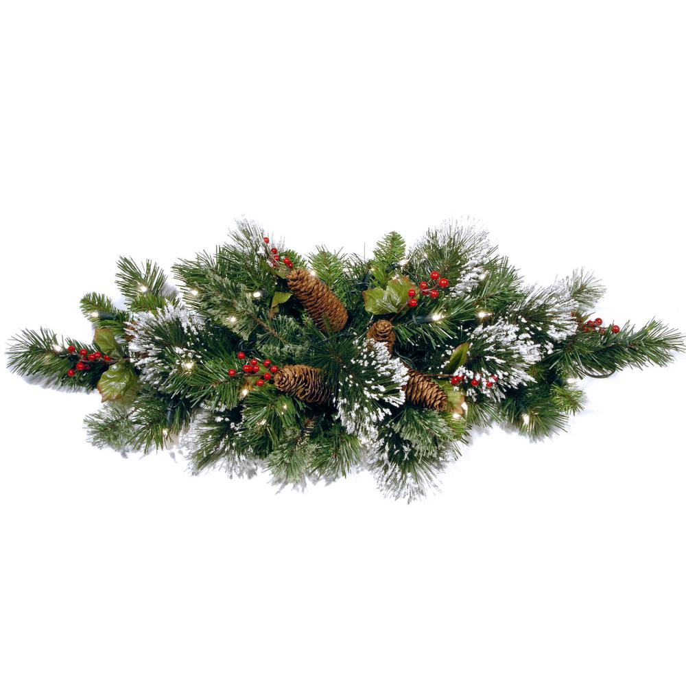 32 in. Wintry Pine Centerpiece with Battery Operated Warm White LED