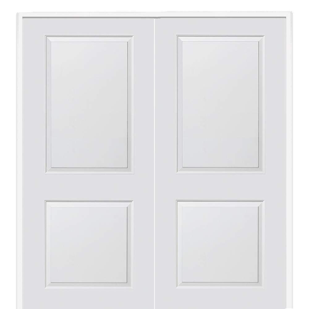 Mmi Door 60 In X 80 In Smooth Carrara Both Active Solid Core Primed Molded Mdf Double Prehung