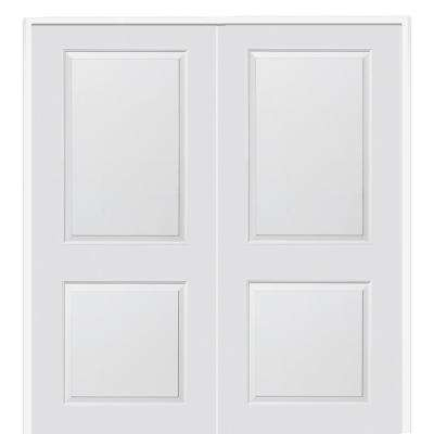 72 in. x 80 in. Smooth Carrara Both Active Solid Core Primed Molded Composite Double Prehung Interior Door