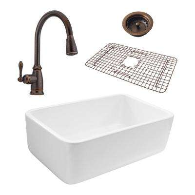 Bradstreet Reversible All-In-One Farmhouse Fireclay 30.5 in. Single Bowl Kitchen Sink with Pfister Rustic Bronze Faucet