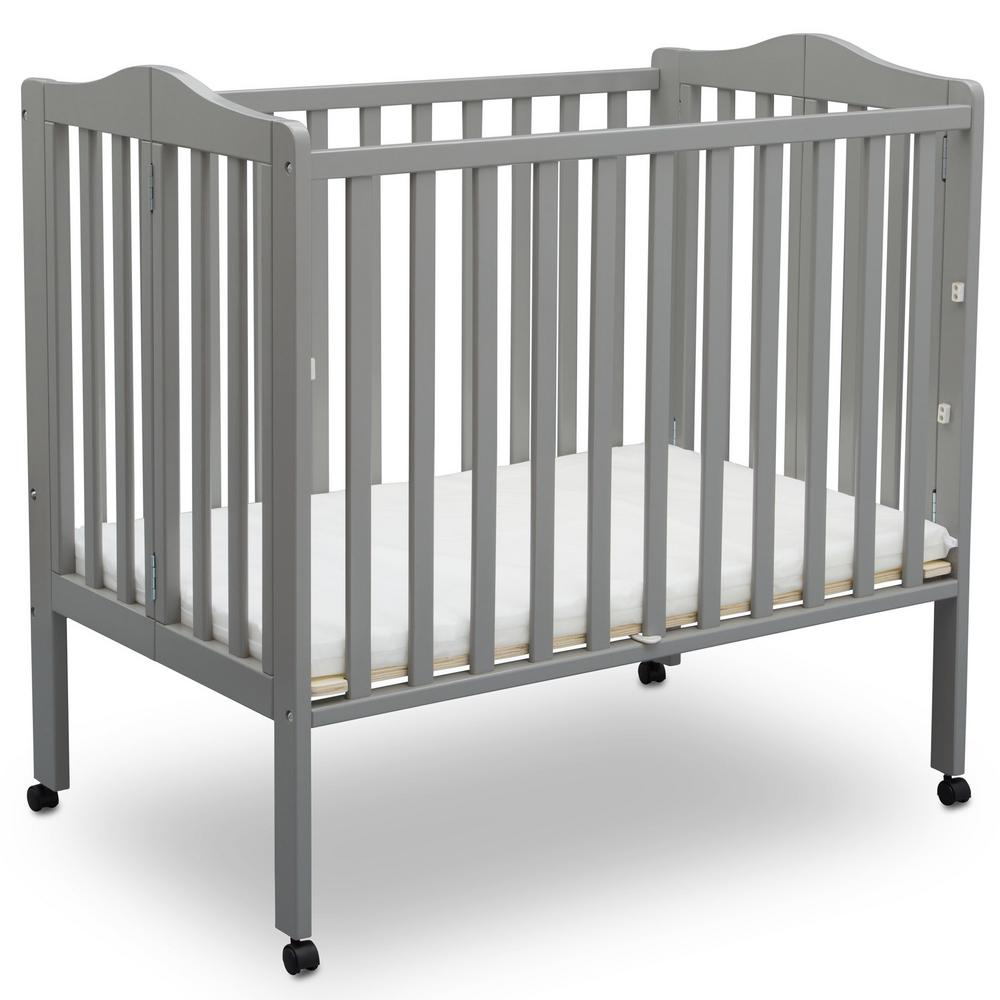 delta children portable folding crib grey with mattress 4470 026 the home depot. Black Bedroom Furniture Sets. Home Design Ideas