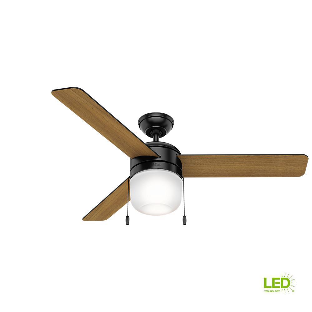 Acumen 52 in. LED Indoor Matte Black Ceiling Fan with Light Kit