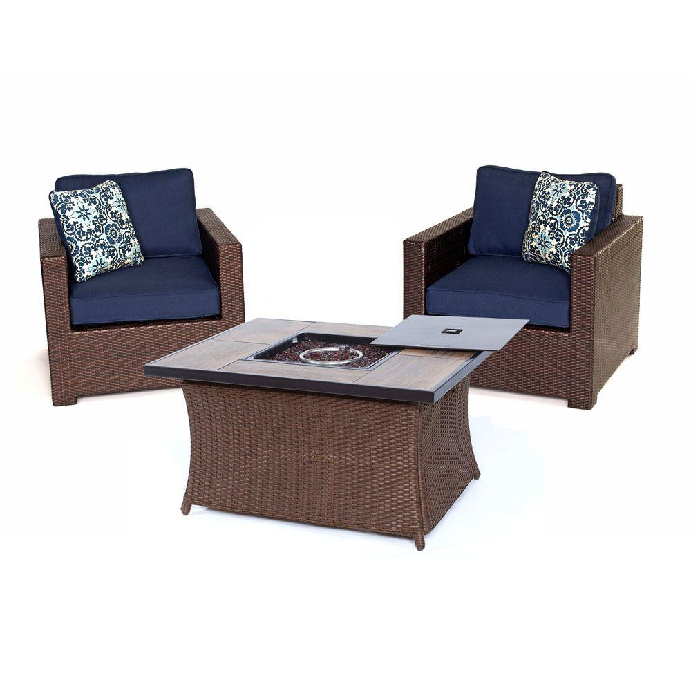Metropolitan 3-Piece All-Weather Wicker Patio Chat Set with LP Gas Fire