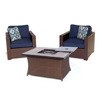 Metropolitan 3-Piece All-Weather Wicker Patio Chat Set with LP Gas Fire Pit Table and Navy Blue Cushions