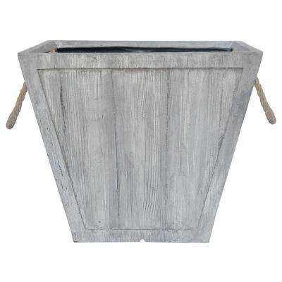 16 in. Square Composite Tapered Faux Wood Planter with Rope Handles in Weathered Gray finish