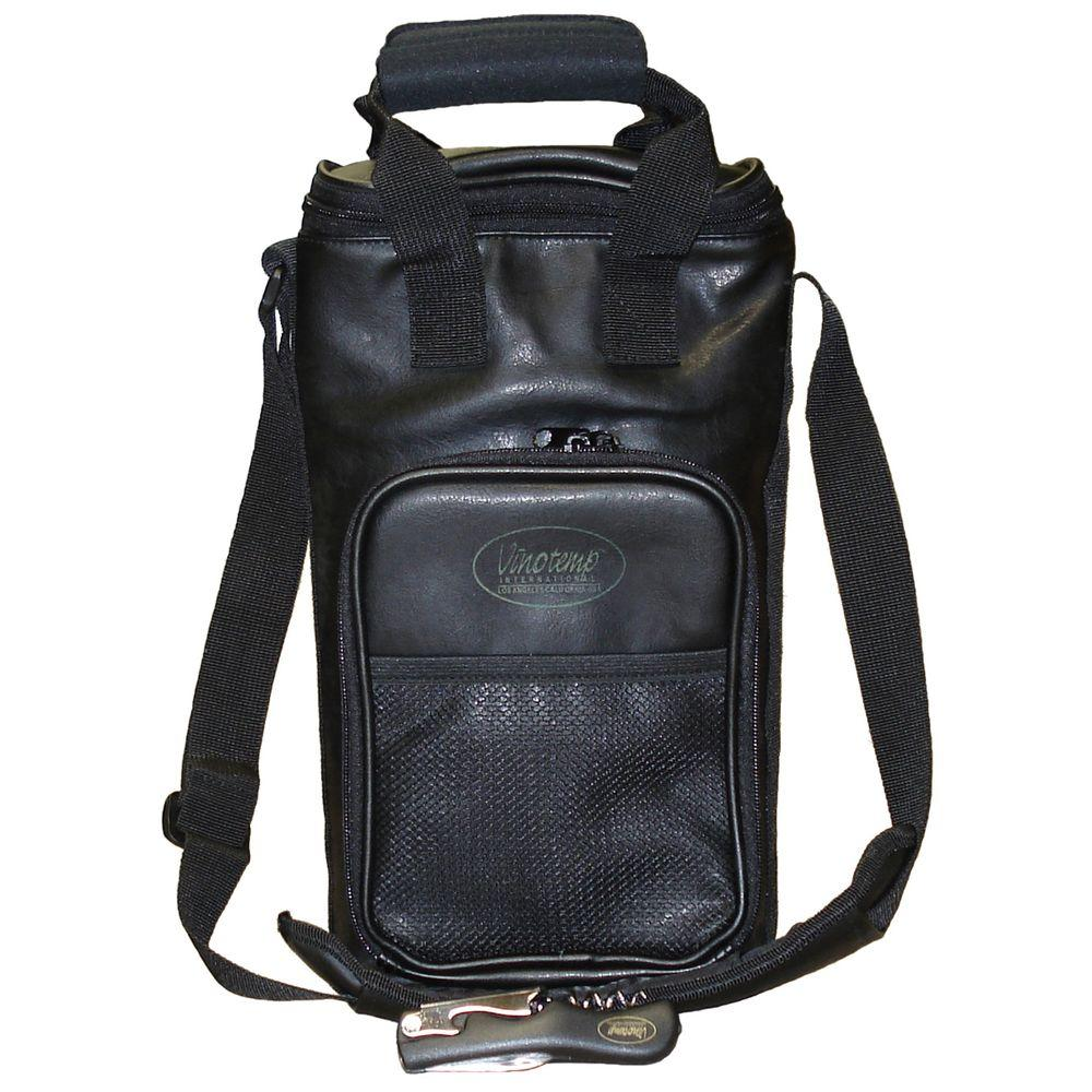 Vinotemp 2 Bottle Faux Leather Wine Carrier Bag