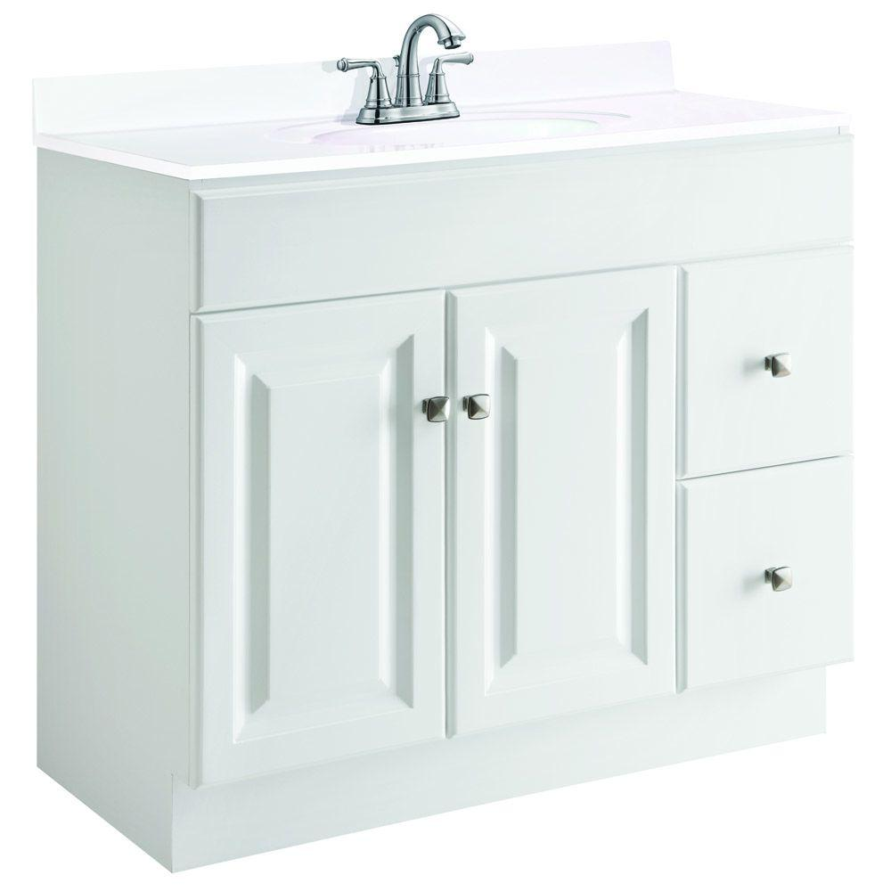 Design House Wyndham 36 In W X 18 In D Unassembled Vanity Cabinet Only In White Semi Gloss