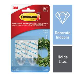 Medium Clear Hooks With Strips 2 Pack