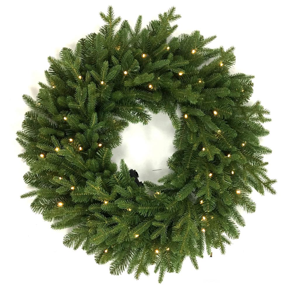 Battery Operated Led Artificial Christmas Wreath With 50 Lights