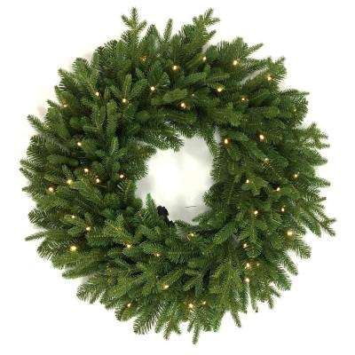 Norway 32 in. Battery Operated LED Artificial Christmas Wreath with 50-Lights
