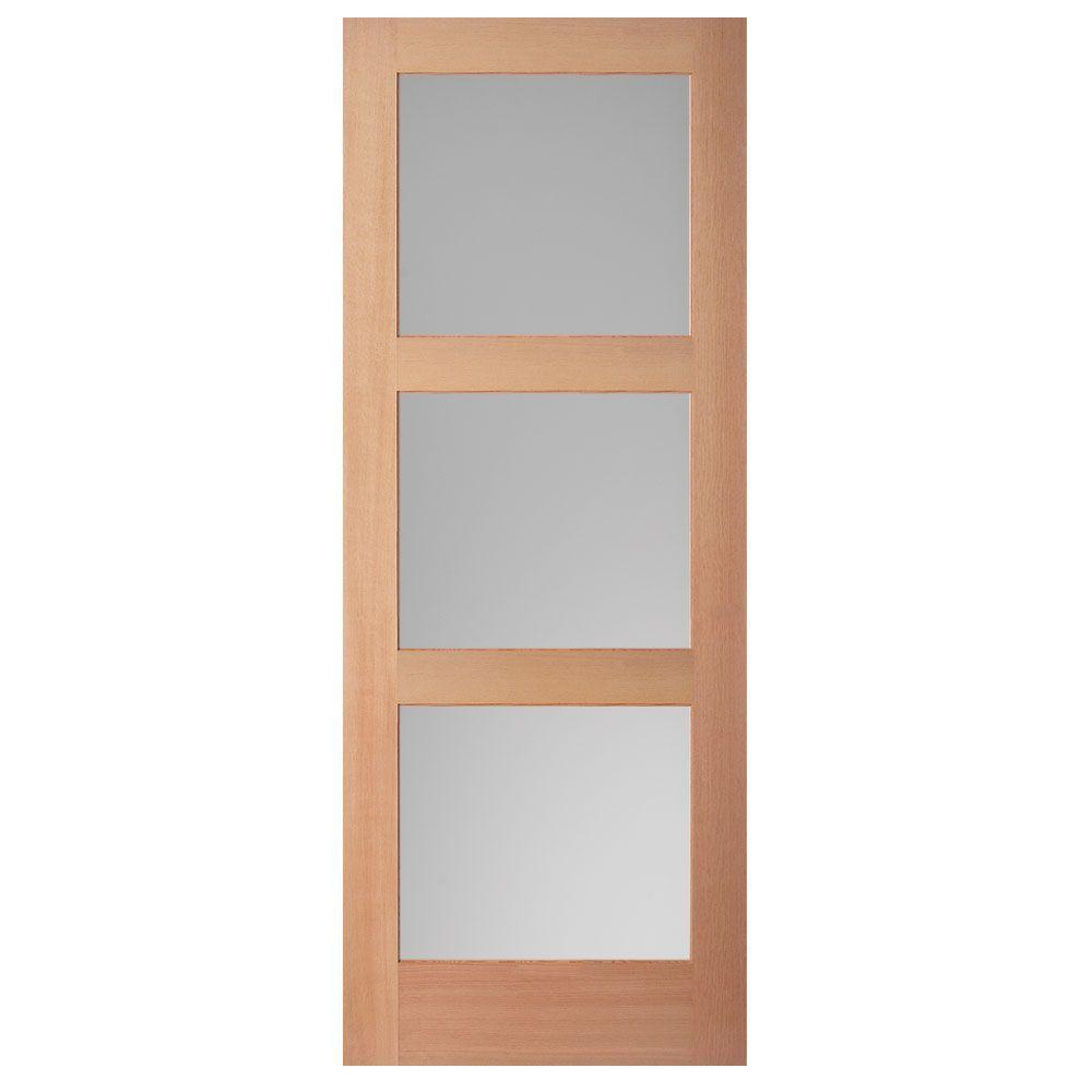 36 in. x 84 in. Unfinished Fir Veneer 3-Lite Equal Solid Wood Interior Barn Door Slab