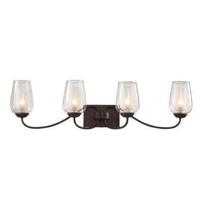 4-Light Rubbed Oil Bronze Wall Sconce with Frosted and Clear Glass