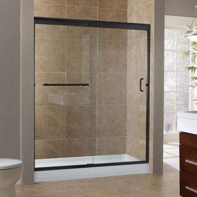 Marina 60 in. x 76 in. H Semi-Framed Sliding Shower Door in Oil Rubbed Bronze with 3/8 in. Clear Glass