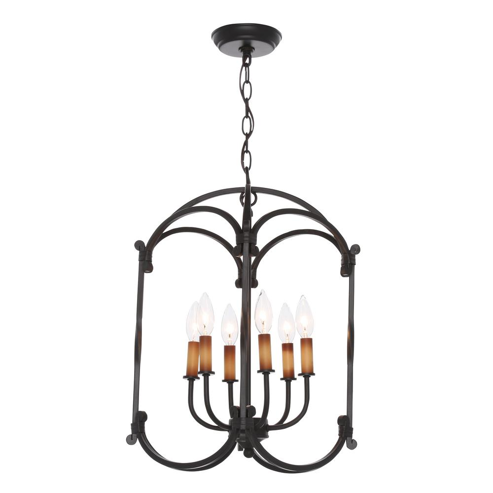 World Imports Hastings Collection 6 Light Rust Hanging Lantern