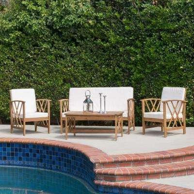 Langdon Brown 4-Piece Wood Patio Conversation Set with White Cushions