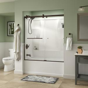 Simplicity 60 x 58-3/4 in. Frameless Contemporary Sliding Bathtub Door in Bronze with Clear Glass