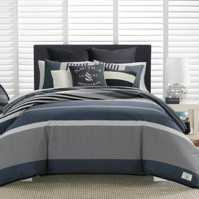 Rendon 3-Piece Charcoal Gray Striped Cotton Full/Queen Comforter Set