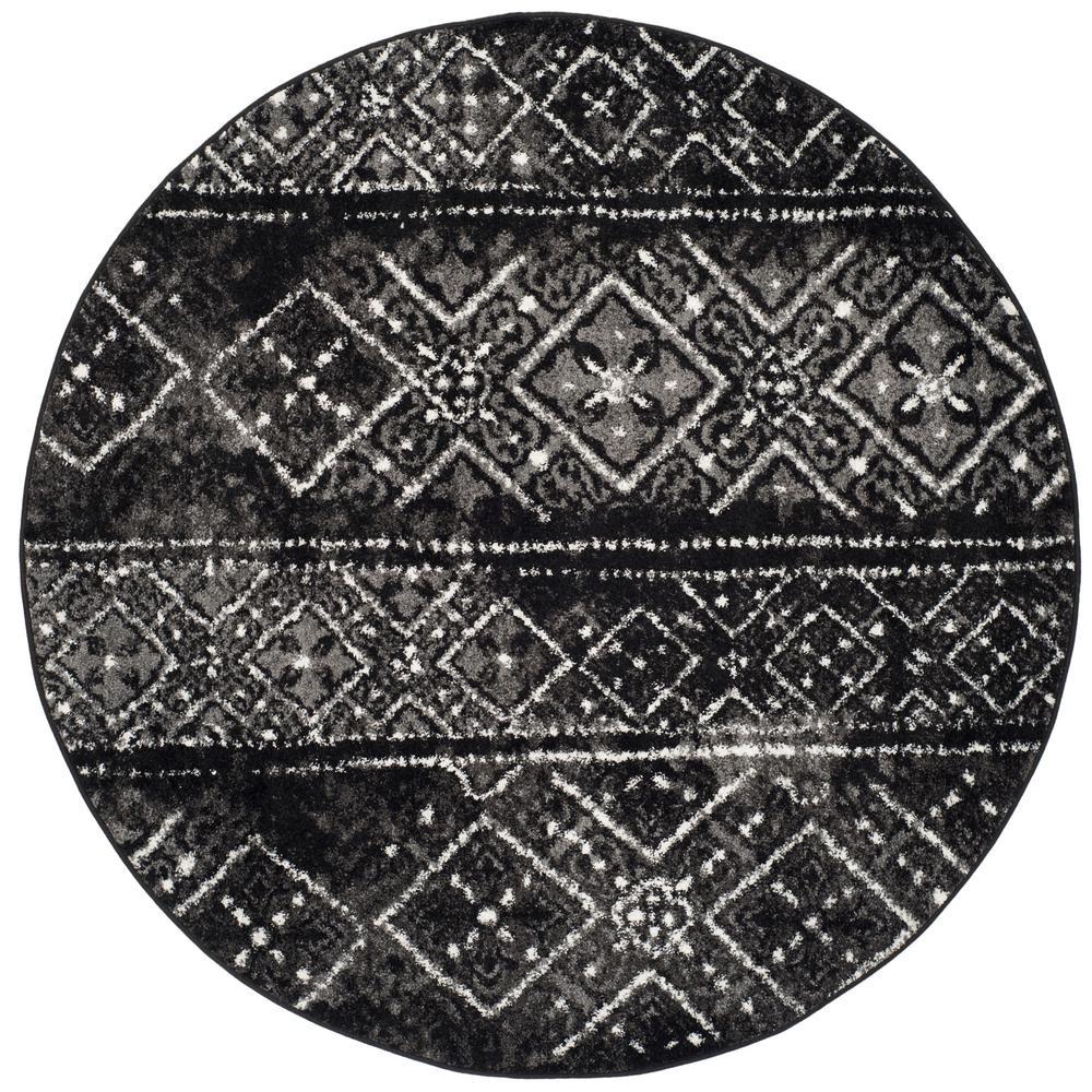 safavieh adirondack black silver 4 ft x 4 ft round area rug adr111c 4r the home depot. Black Bedroom Furniture Sets. Home Design Ideas