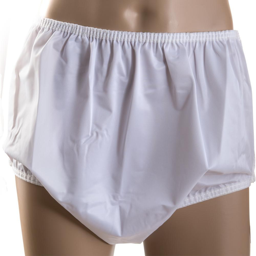 Briggs Medical Service Pull-On Style Incontinent Pants Helps protect clothes and bed linens from leakage. Designed to be used with pads; diapers; reusable's; and other absorbent materials. Elastic waist and leg bands provide comfort and added protection.