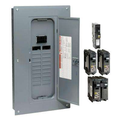 Homeline 100 Amp 20-Space 40-Circuit Indoor Main Breaker Plug-On Neutral Load Center with Cover - Value Pack