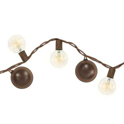 12-Light 16 ft. Outdoor String Light with Bluetooth Speakers in Brown