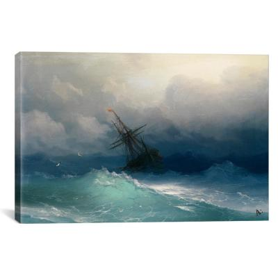 """Ship on a Stormy Seas"" by Ivan Aivazovsky Canvas Wall Art"