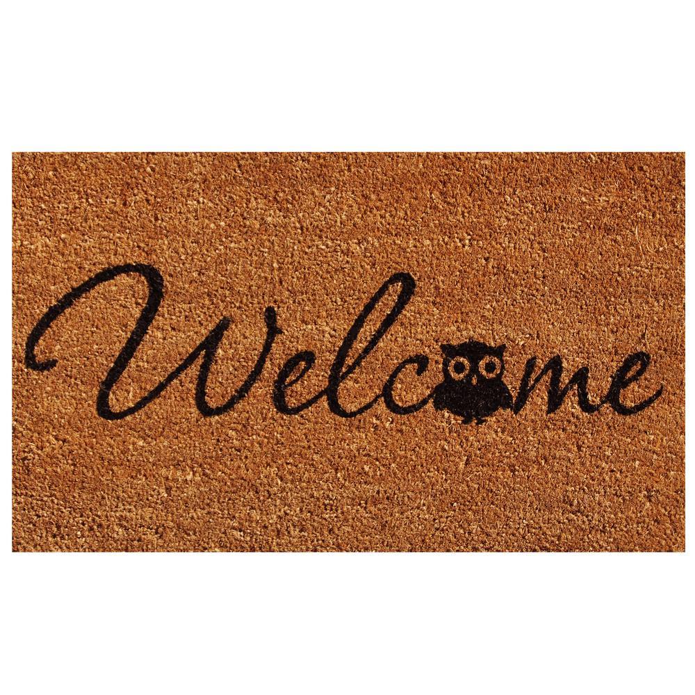 Barn Owl Welcome Door Mat 17 in. x 29 in.