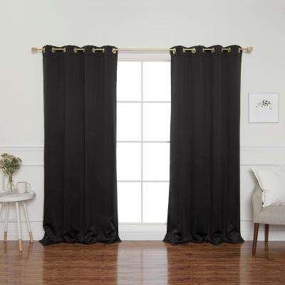 Gold Grommet 84 in. L Triple Weave Blackout Curtain Panel in Black (2-Pack)