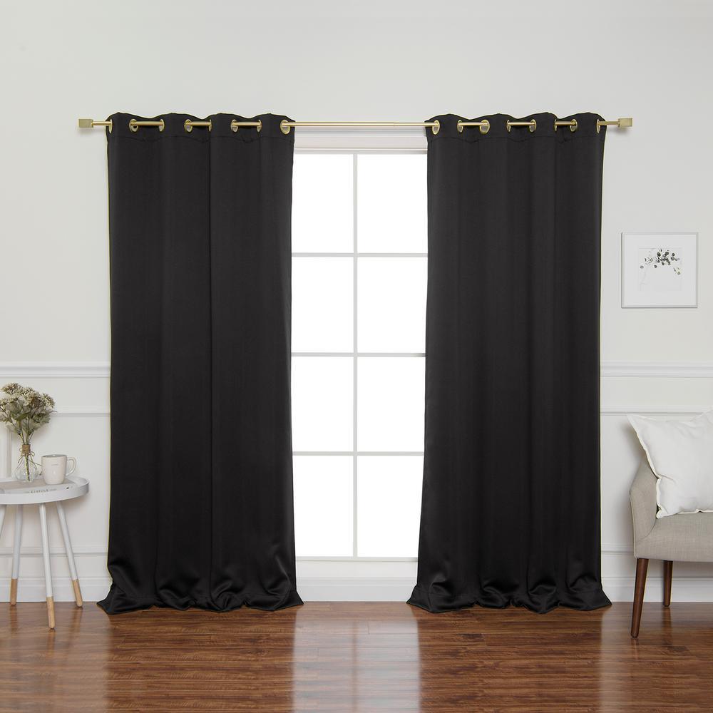 Black Gold Grommet 84 in. L Triple Weave Blackout Curtain Panel (2-Pack)
