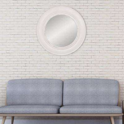 Port Hole Round Distressed White Decorative Mirror