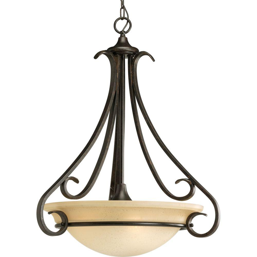 Progress Lighting Torino 3 Light Forged Bronze Foyer Pendant With Tea Stained Gl
