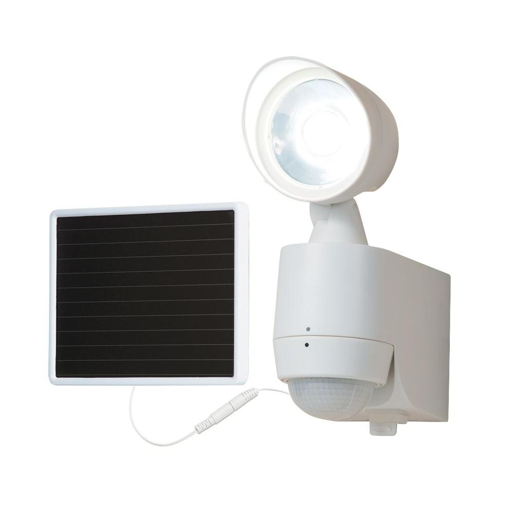 130-Degree White Motion Activated Sensor Single-Head Outdoor Solar Powered