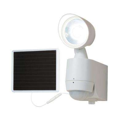 130-Degree White Motion Activated Sensor Single-Head Outdoor Solar Powered Integrated LED Security Flood Light