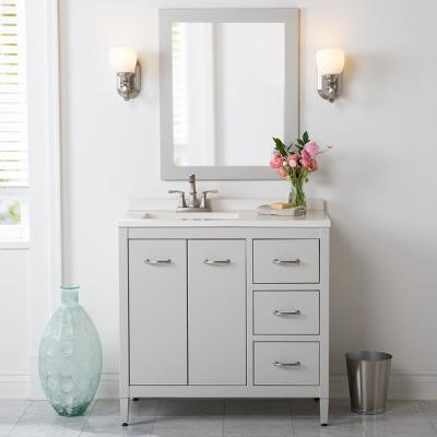 Marrett 36.5 in. W x 18.75 in. D Bath Vanity in Light Gray with Solid Surface Vanity Top in Snow with White Sink