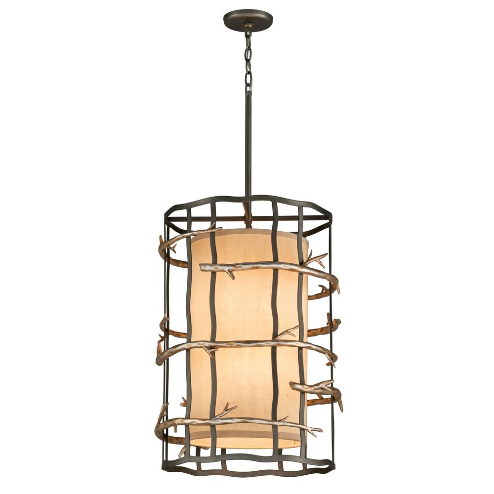 Troy Lighting Adirondack 6 Light Graphite And Silver Leaf Pendant
