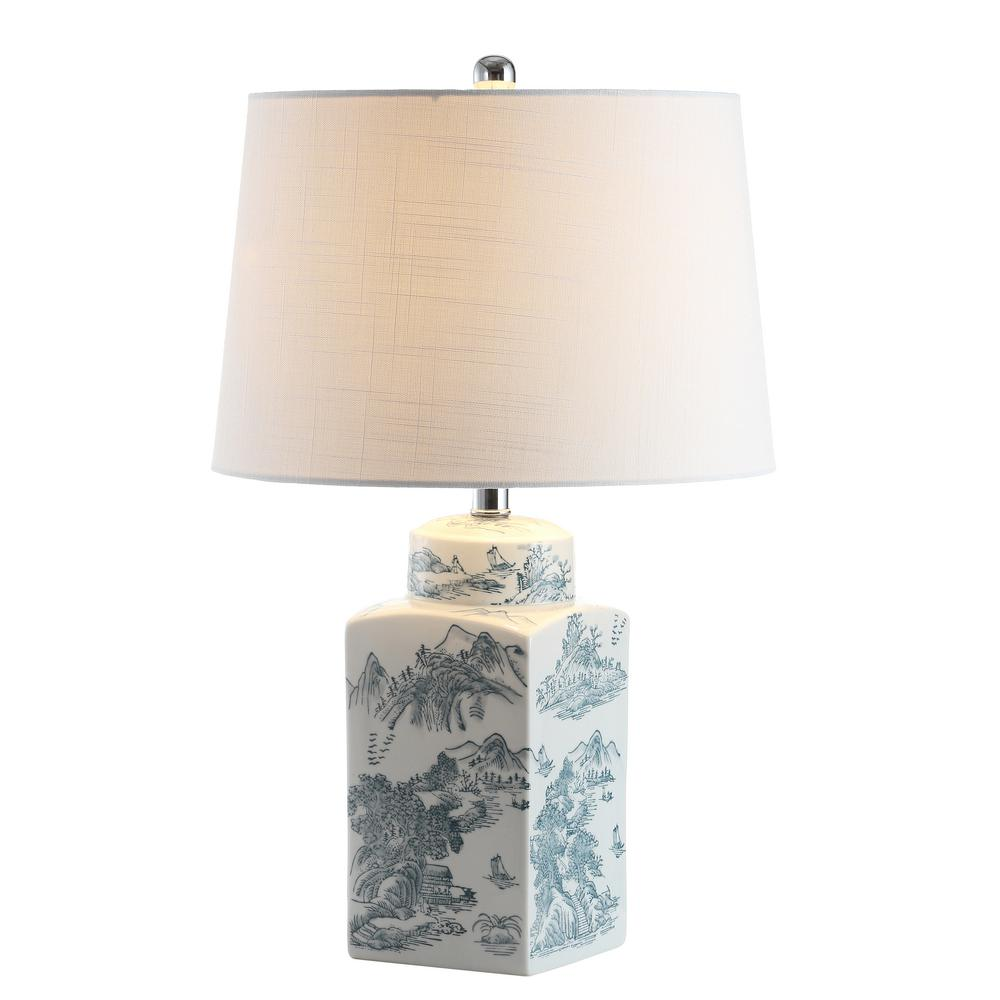 Audrey 24.5 in. Blue/White Chinoiserie LED Table Lamp
