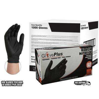 Black Nitrile Industrial Powder-Free Disposable Gloves (10-Boxes of 100-Count) - XLarge