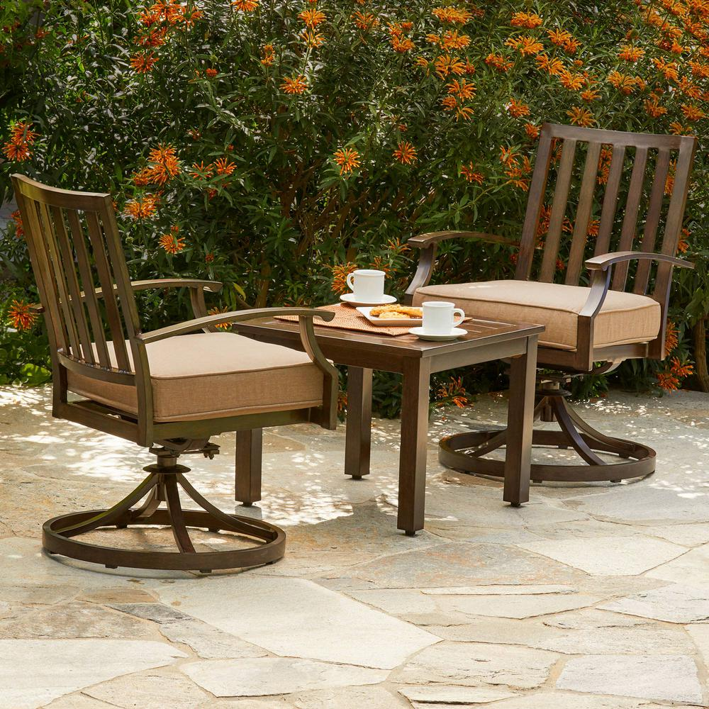 Bridgeport 3 Piece Aluminum Outdoor Bistro Set With Tan Cushions