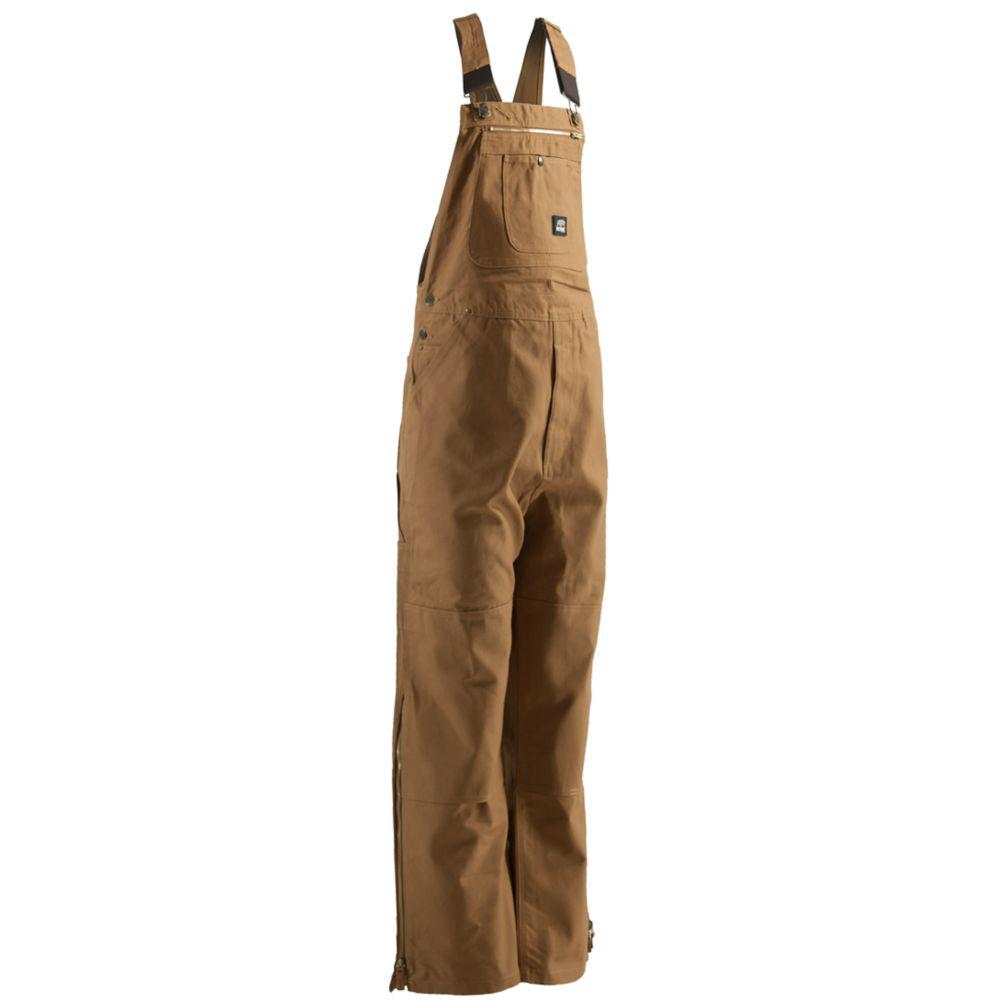358f7cff69b Berne Men s 34 in. x 32 in. Brown Duck Unlined Bib Overall-B1067BDR340 -  The Home Depot