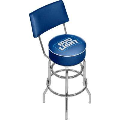 Bud Light Blue 30 in. Chrome Swivel Cushioned Bar Stool