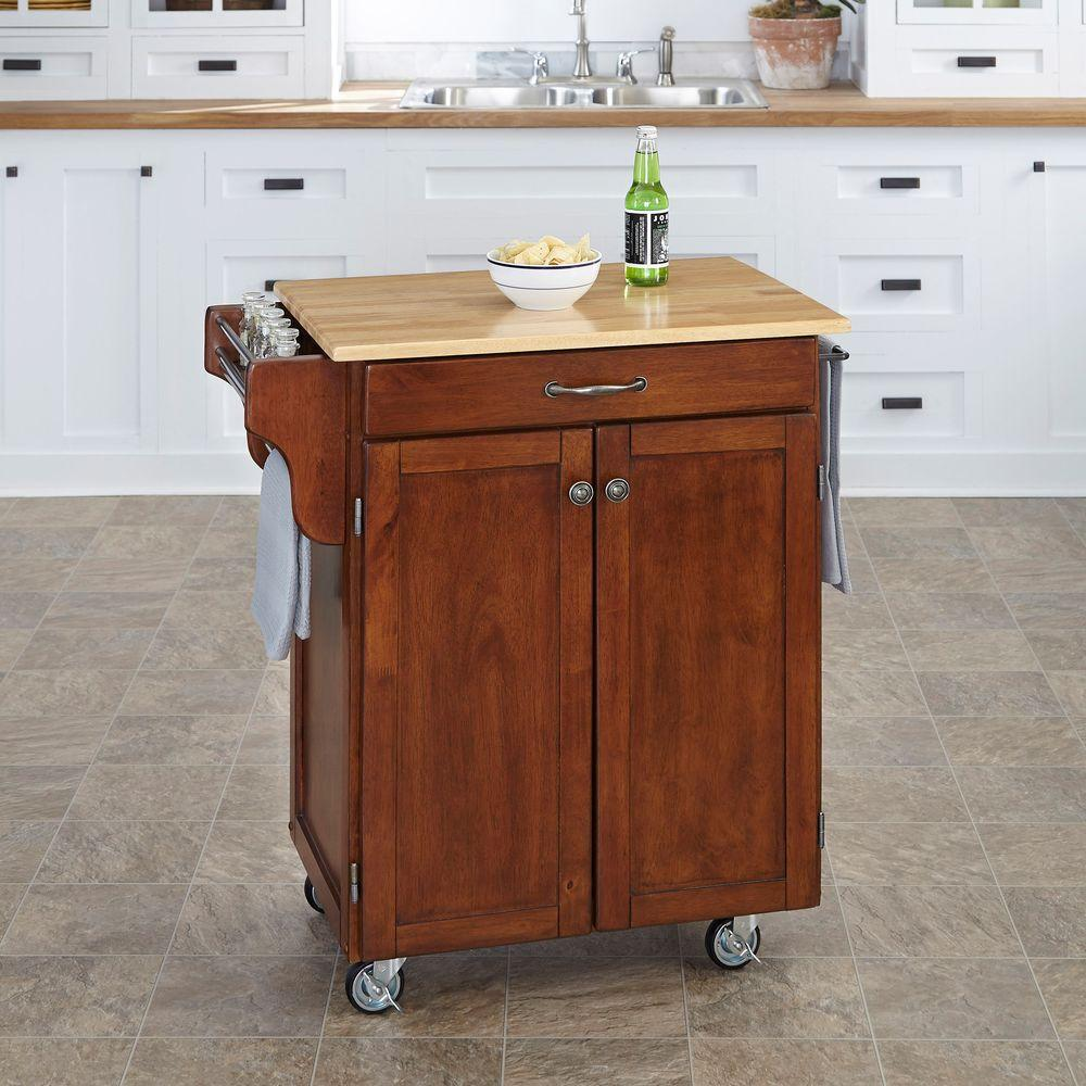 Create-a-Cart Cherry Kitchen Cart With Natural Wood Top
